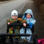 Sigurd & Peter nyder en tur i klapvognen